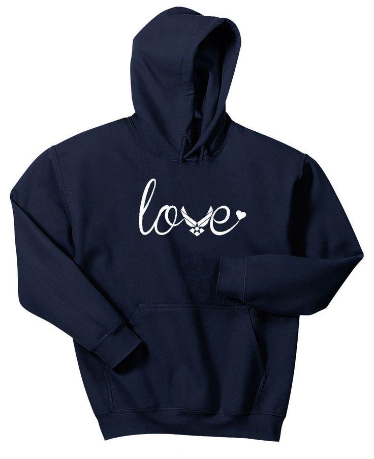 Air Force Love Ladies Hoodie Sweatshirt Hoody Usaf Wife Mom Airman
