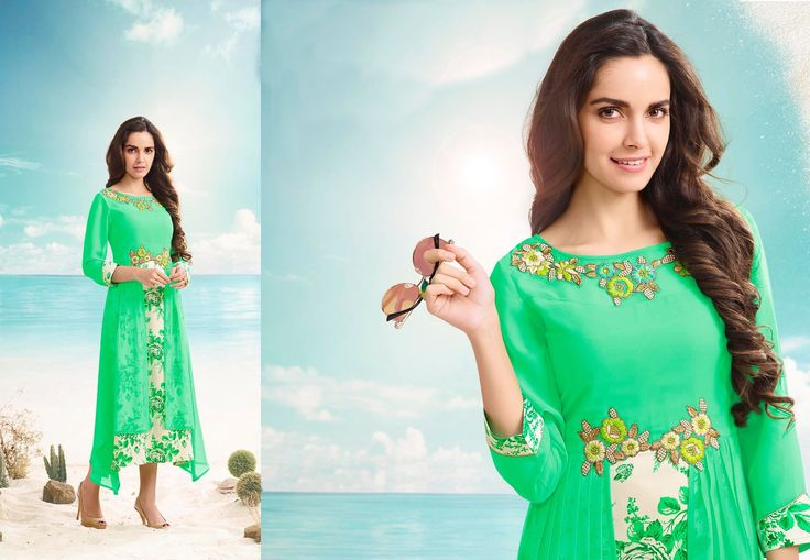 Fancy light green embroiderd designer kurti