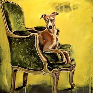 """Rokokko"" #art #fineart #painting #rococo #dog #greyhound #chair #armchair #furniture #velvet #relax #style #yellow #maleri #kunst #hund #stol #gul #fløyel"