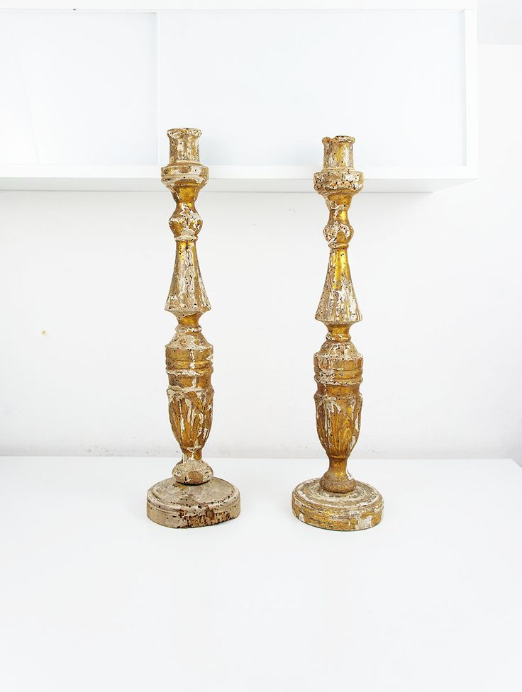 2 Antique Altar candle stick Church candle stick Floor candle holder Large candle stick Italian candle stick Wood candle stick Church decor by FlorenceMercato on Etsy