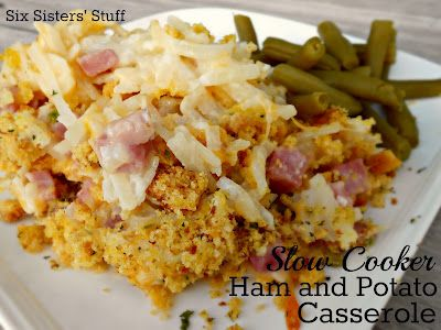 Slow Cooker Ham and Potato Casserole from SixSistersStuff.com #recipe #slowcooker