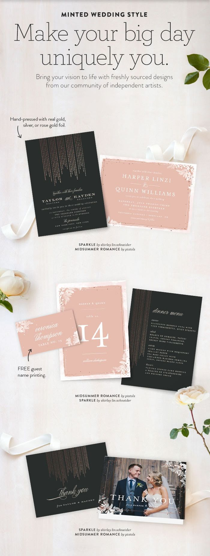 how to put guest names on wedding invitations%0A New Customer Offer  Enjoy off wedding invitations  Shop unique wedding  invites from independent artists on Minted