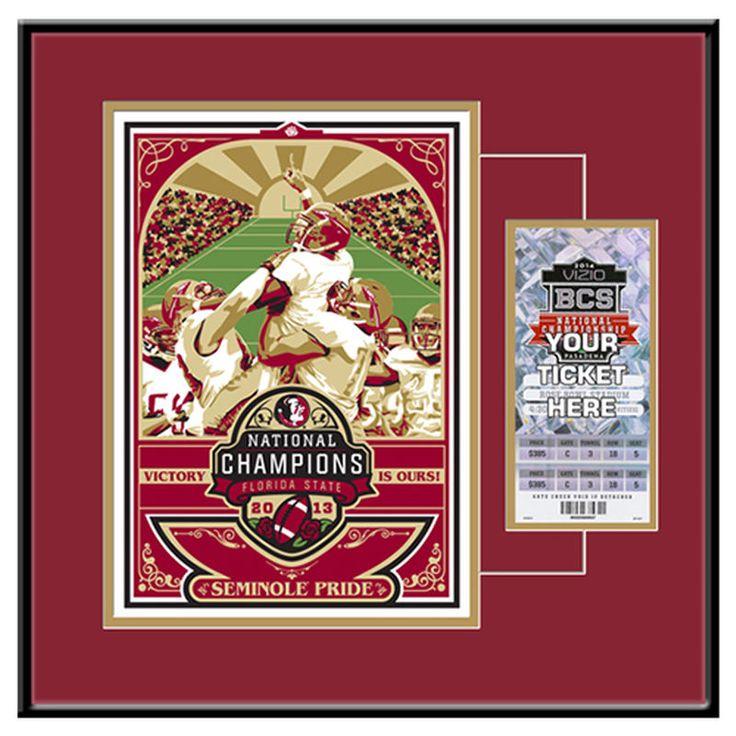 Florida State Seminoles (FSU) 2013 National Football Champions Sports Propaganda Screen Print Ticket Frame