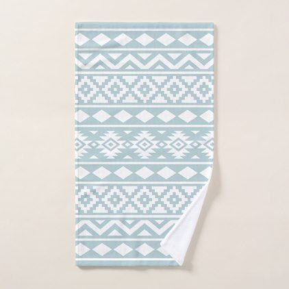 Aztec Essence Ptn III White on Duck Egg Blue Hand Towel - patterns pattern special unique design gift idea diy
