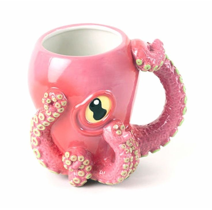 Pink Octopus Ceramic 3D Coffee Mug with Tentacle Handle