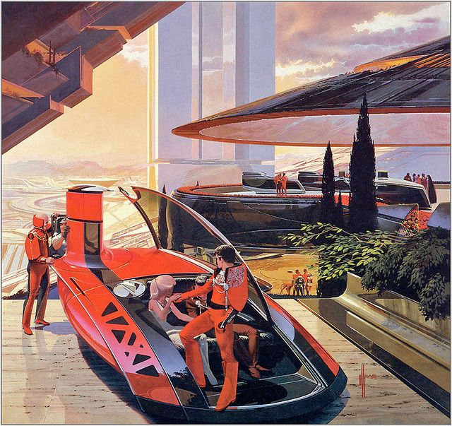 Arriving guests - Syd Mead (via x-ray delta one album @ Flickr)