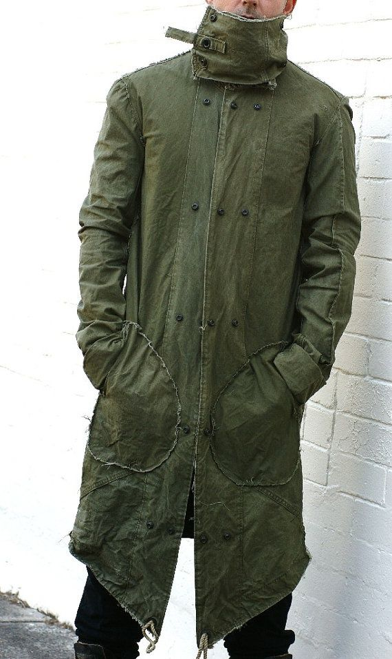 The Fine Art of Vintage Fashion 04_Street Fashion -Recycled Army Green High Collar Post Apoc Styled Weatherproof Coat on etsy