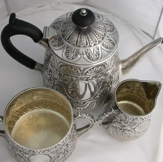 Victorian 1884 Sterling Silver Repousse Tea Set by Charles Edwards