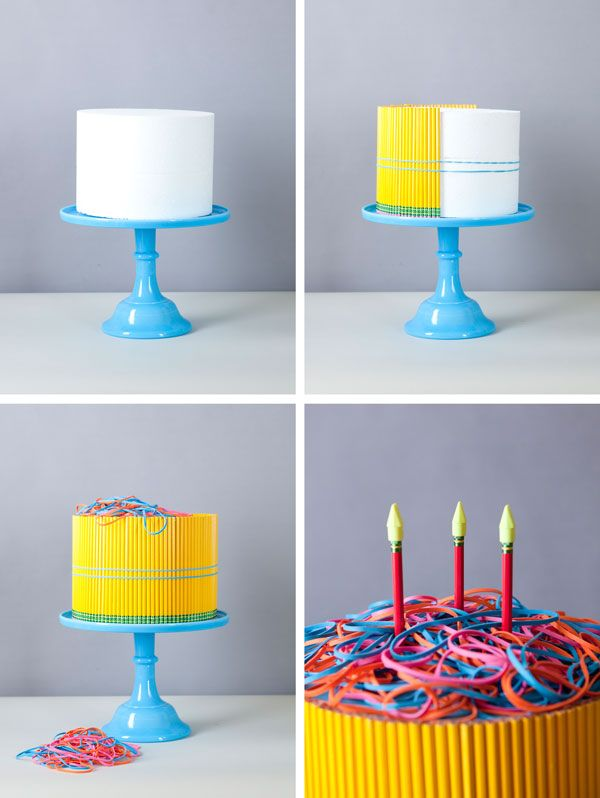 Back to school cake!  Too cute... I love the diaper cake idea & this is perfect gift idea for a teacher's classroom