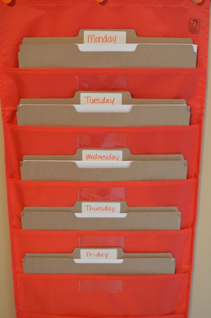 Organizing worksheets by day. #homeschooling #homeschool #organization