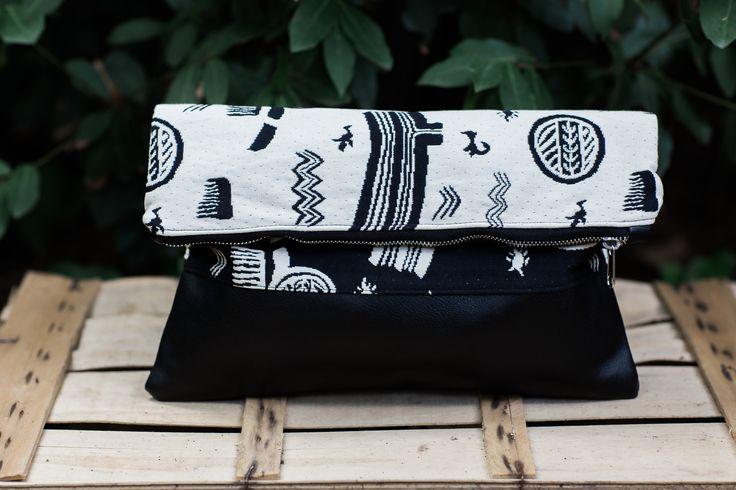 fold over clutch, bag, clutch bag, aztec print