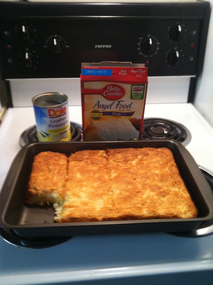 Pineapple Angel Food Cake! 2 ingredients+bake at 350 for 20 minutes= easy fat free desert!