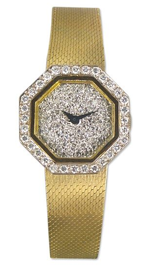 Geneve Vintage 14kt Gold & Diamond Womens Manual Wind Watch