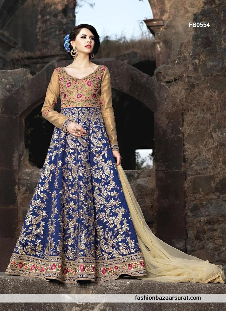 Exce::ent Designer Wedding And Party Wear Blooming Blue Brocade Australian Silk Anarkali Suit at Cheapest Price FashionBazaarSurat.