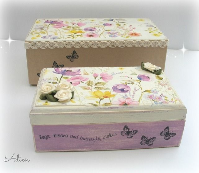 Hand Decorated Wooden Box with Gift Box Wild Flowers £16.95