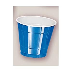 Plastic Marine Blue Cups. There are 20 Plastic Cups per package. These 9 ounce cups come in 22 colours to match any theme or event.