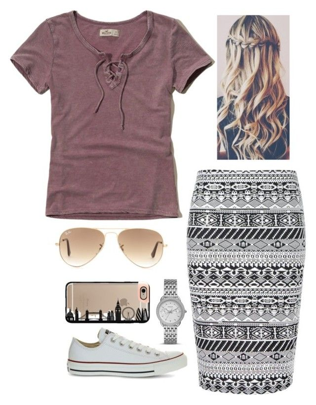 """Untitled #280"" by faythe2230 ❤ liked on Polyvore featuring Hollister Co., Ally Fashion, Ray-Ban, Converse, FOSSIL and Casetify"