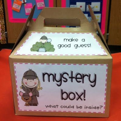 use for higher order thinking skills (predicting, changing prediction after hearing the clues) - could use on Monday (i.e. Mystery Box Mondays)