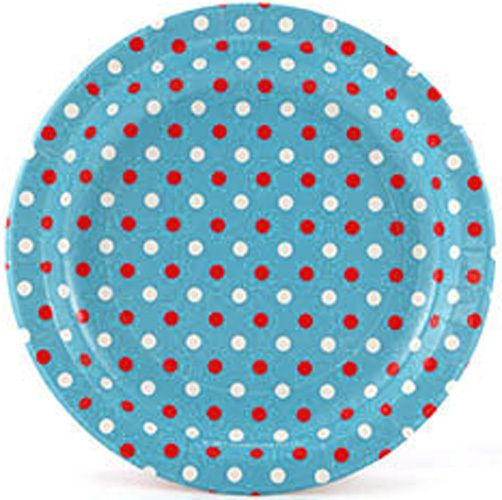 Let's Party With Balloons - Sambellina Blue Multi Polka Dots Paper Plates, $9.00 (http://www.letspartywithballoons.com.au/sambellina-blue-multi-polka-dots-paper-plates/?page_context=category