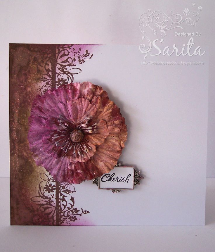 Simple handmade card idea, paint technique using Tim Holtz inks in Walnut stain and Seedless Preserves, purple and brown colour combination, Lindy's Starburst spray in Cowabunga Copper, Prima flower.