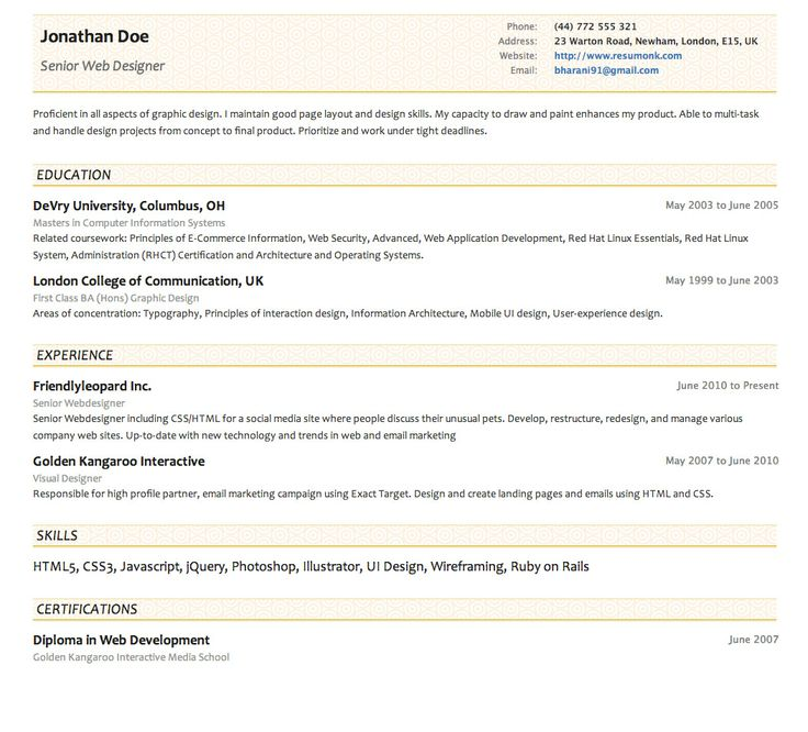 concise resume template - Josemulinohouse - Concise Resume Template