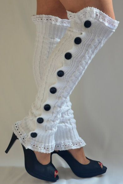 Button Down Lacey Leg Warmers