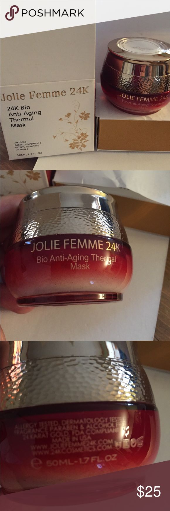 Jolie Femme Bio Anti-Aging Thermal Cream 50ml -Heating Effect -Open pores -Absorb oils and toxins 24K gold in the ingredients New in package  Made in USA Jolie Femme Makeup