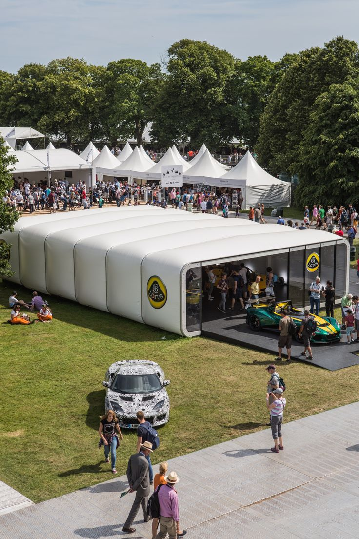 A 10m AirClad xpo event structure standing out against the crowd at the Goodwood Festival of Speed.