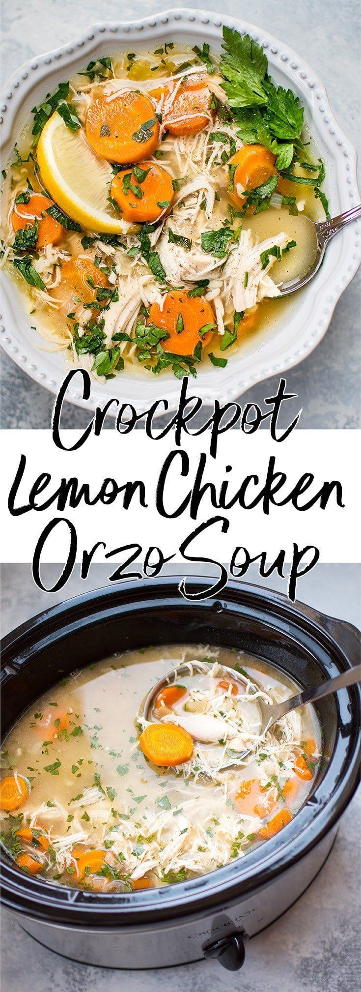 This Crockpot lemon chicken orzo soup recipe is healthy, super easy, and family-friendly. Come home to a steaming bowl of deliciousness! #chickensoup