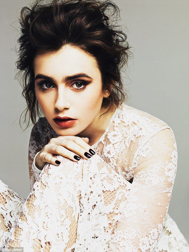 Model looks: Lily Collins wows in vampy makeup and white lace in a new beauty shoot for Glamour magazine