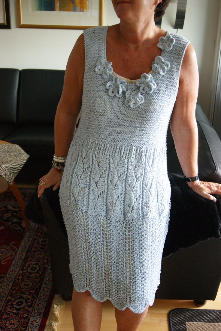 "Knitted dress ""Iceblue"". Very fun to make :-)"