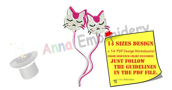Kitty Balloons Embroidery Design-Cat Embroidery Design-Happy Birthday Patterns-Birthday Embroidery-Balloons Embroidery-Instant Download-PES