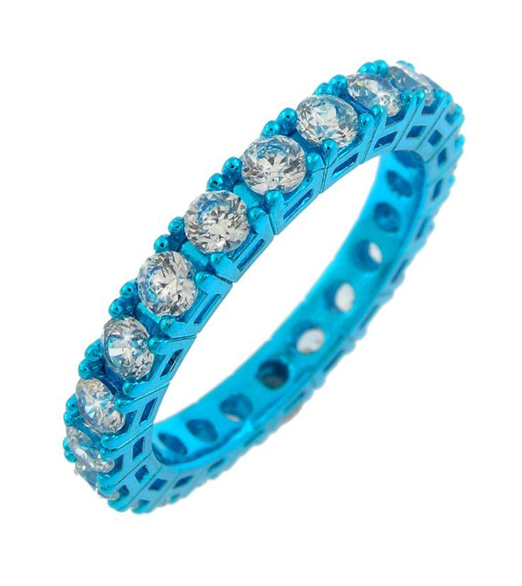 anello azzurro con zirconi bianchi