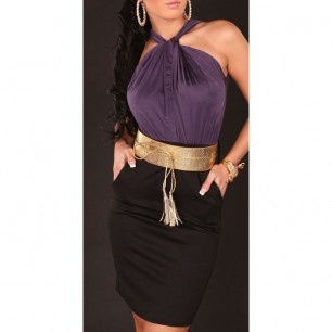 33,00 € ----- Robe de soirée drapée noire et violette et sa ceinture dorée.  Cette robe de soirée drapée noire et violette et sa ceinture dorée est l'alliée qui fera de vous LA plus belle de la soirée.