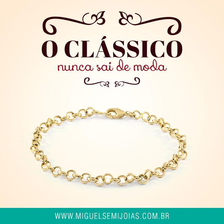 Pulseira elos portuguesa fina banhado a ouro