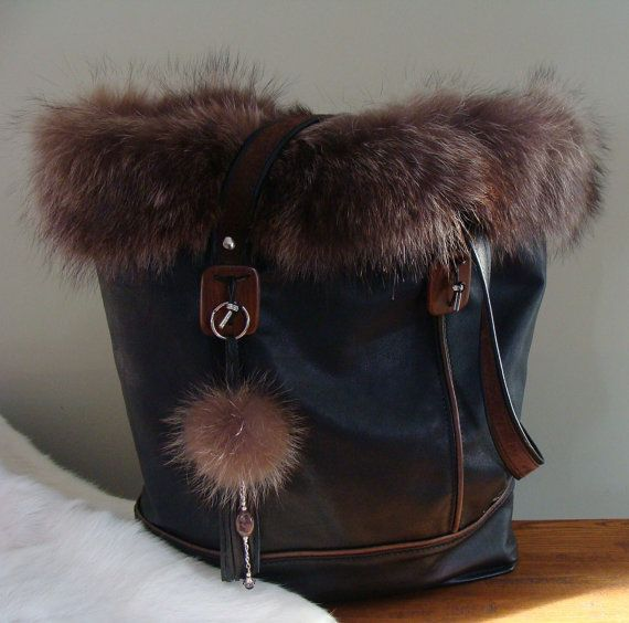 Silver Fox Fur and black leather tote recycled by Trouloulou