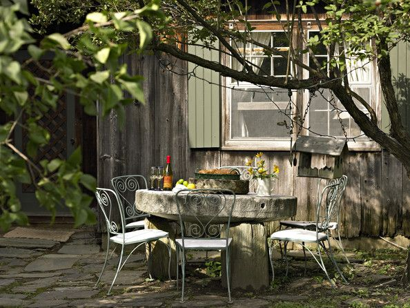 Country Style Backyard Ideas : Country Patio Shady patio area with table and wrought iron chairs