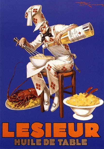 Olive Oil Cook Pasta Lobster Lesieur Seafood Spaghetti Vintage Poster Repro