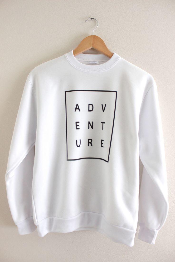 ADVENTURE White Graphic Crewneck Sweatshirt