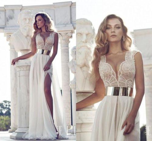 Sexy Prom Dresses Deep V Neck Slit Bridal Wedding Formal Evening Party Ball Gown | eBay $138