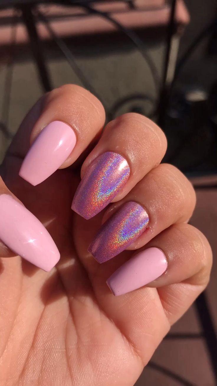 Pin By Laurel Williamson On Nails Pink Nails Holographic Nails Bright Nails