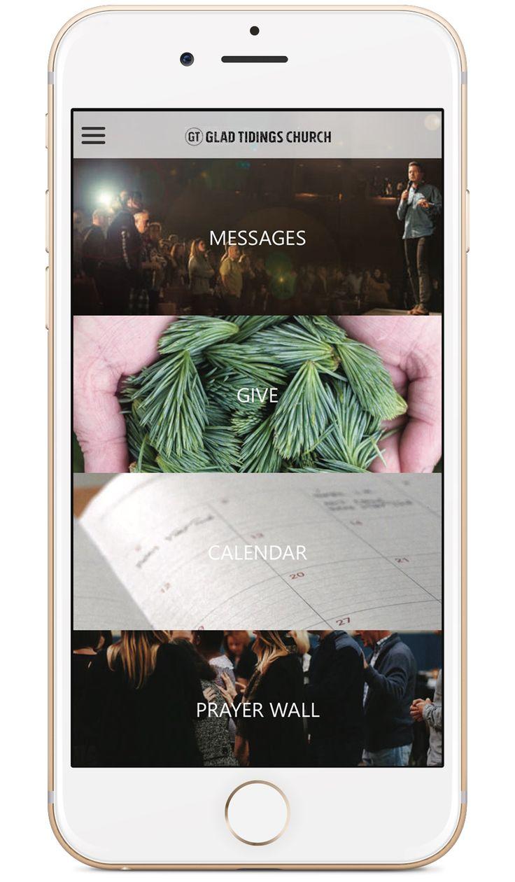 Glad Tidings Church's custom church app built by Tithe.ly - #churchapps.  Get a custom church app for you church - $0 setup and $0 for first six months!  http://get.tithe.ly/mobile-church-app/  #mobileapp #churchapp #mobiledesign #appdesign #appsforchurches #churchapps