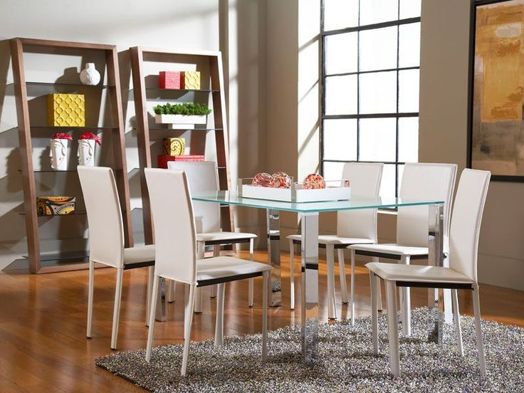 The Slim Dining Table With Arcane Chairs Presents A Sensational Blend Of  Frosted Glass, Chrome And Leather.