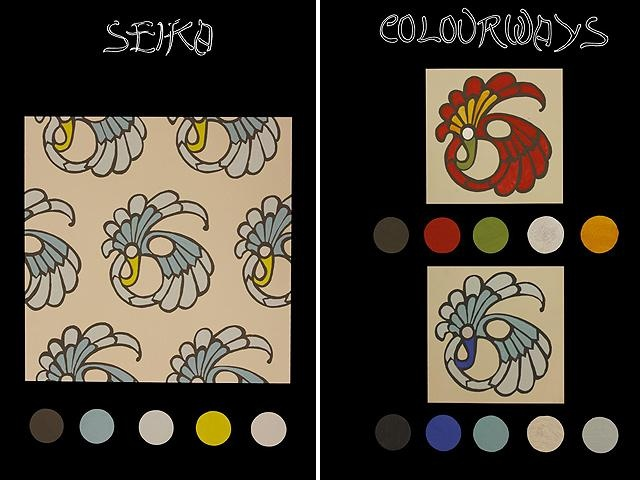 A response to a brief by Mokum Textile to develop a range of fabric for the company.  Professional presented in three alternate colour ways is a design titled Seka.