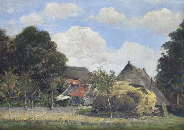 Hobbe Smith (1862-1953) Titel: Boerderij met schuren en hooiberg - Artiquair