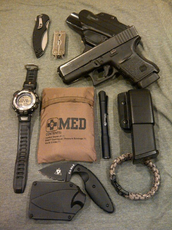 My EDC; Glock 30 in a Blade Tech Eclipse OWB w/spare magazine, Mini Leatherman, Kershaw Assisted Opening knife, Casio watch, Streamlight Stylus Pro, Ka Bar TDI, homemade paracord bracelet, ITS Tactical EDC Medical Kit.