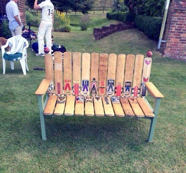 Using old cricket bats to build a bench