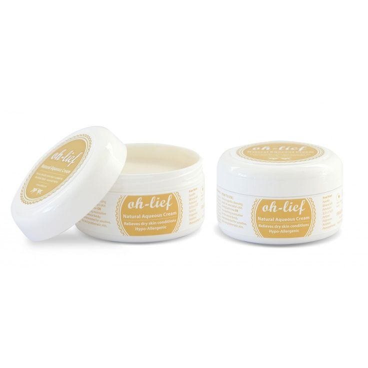Oh-Lief Natural Aqueous Cream is made from natural ingredients and contains no petrochemicals or toxins. Suitable for the whole family including baby.