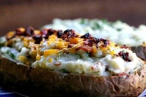 Twice baked potato - yum! (note: I didn't have 4 lbs of potato the first time and they turned out a bit runny, so I'd just add milk as needed to desired consistency)