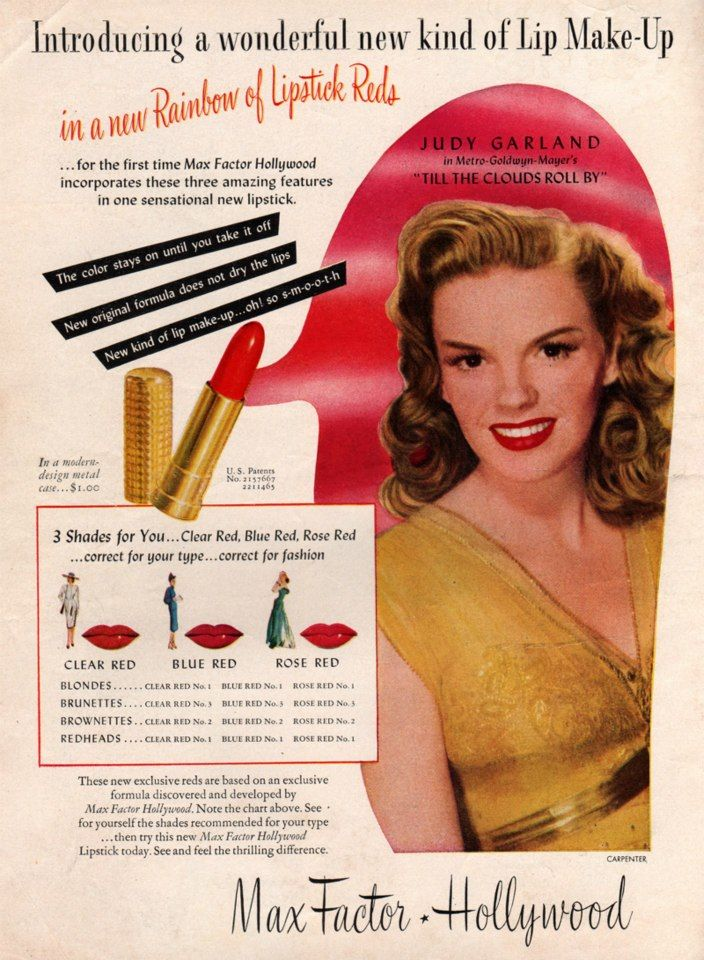 Judy Garland for Max Factor Lipstick. #ad #beauty #makeup ...